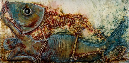 Wax and acrylic artwork in blue and gold hues showing a large skeletal fish lying on top of a mermaid