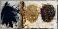 Wax and acrylic artwork showing three abstract faces on a white background