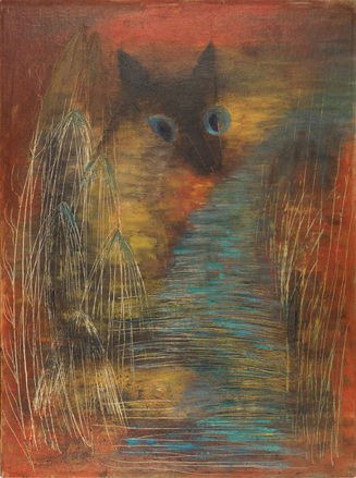A surrealist painting of a cat with bright blue eyes. The foreground is abstract, with swaths of blue, yellow and red around the cat.