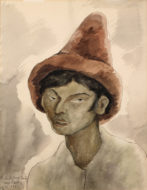 A watercolor in brown tones of the head and shoulders of a peasant man wearing a tall pointed hat
