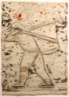A simple pencil drawing of a man carrying a basket on his back. The paper is covered with watercolor splashes.