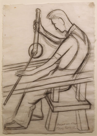 A charcoal sketch of a seated man, shown from the side, blowing glass.