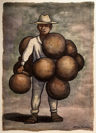 A watercolor in earth tones of a man, dressed in white, holding a bundle or round clay pots.
