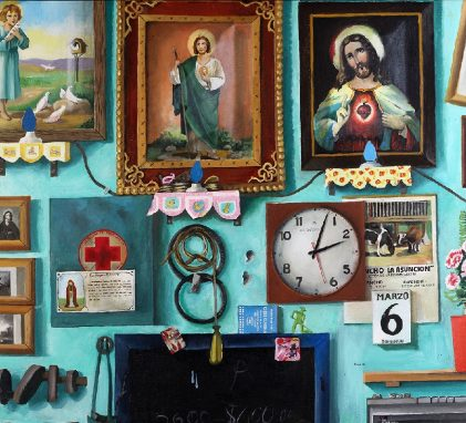 A painting of a bright turquoise wall on which is hung images of Catholic saints, a small clock, a calendar page, and a string of blue lights. A shelf on the wall holds a vase of pink flowers.