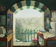 A painting of an office space with two wooden tables, a computer, and books and papers. A larch green and white arched window shows a view of mountains and a lake.