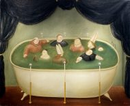 Painting of nine monks and bishops floating in a bathtub surrounded by candles