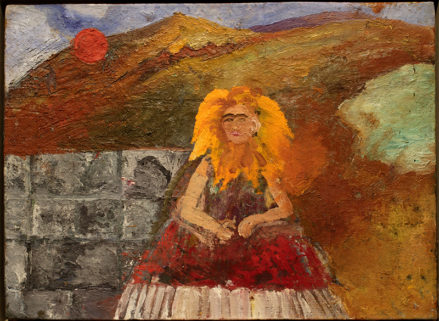 A painted self-portrait by Frida Kahlo showing her seated in a bright red dress in front of a gray brick wall. Sunflower petals surround her face and a bright red sun sets in the background.