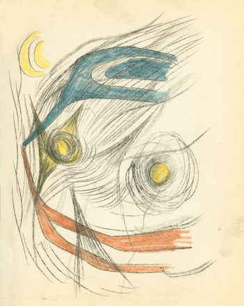 An abstract Surrealist drawing. Amidst grey lines there are three circular yellow forms, and two prong shaped blue and orange forms.
