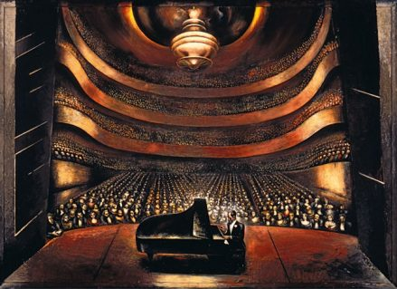 Painting by David Alfaro Siqueiros showing George Gershwin playing the piano onstage in a large concert hall filled with people.