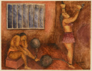 A watercolor in earth tones of two women in a jail cell