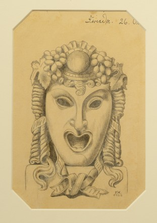 A pencil drawing of a Greek drama mask wearing a headdress with curls