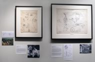 Installation shot of two drawings by Leonora Carrington in the front gallery