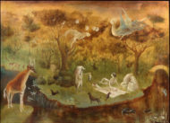 A dreamy landscape in earth tones showing a riverbank picnic populated with animals