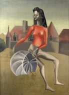 A painted portrait of a woman wearing a coral blouse and beige leggings in front of a manor house. She holds a silver sphere and a cat sits by her feet