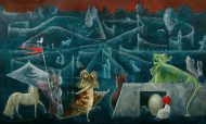 A Surrealist painting of a blue labyrinth, guarded by a bright green sphinx and a small creature with an egg. A line of animals wait to enter the labyrinth