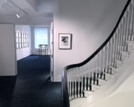 Installation shot of the gallery hallway