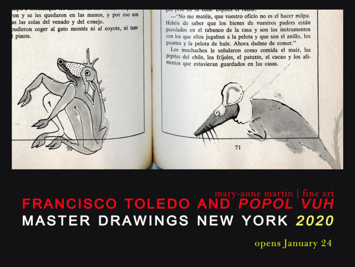 A poster with a black background and illustration of a book, advertising Master Drawings New York 2020