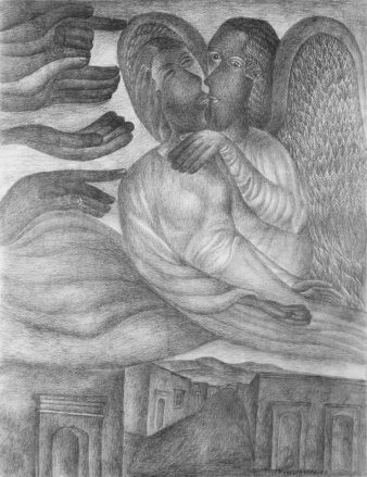 A graphite drawing of two angels kissing