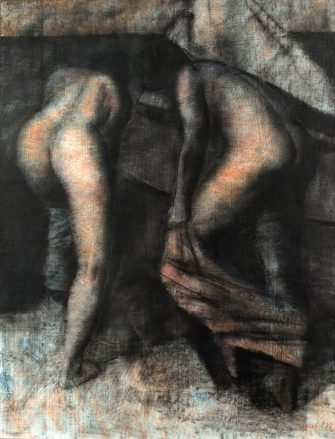 A pastel in gray, blue, and pink hues of two women, shown from behind, getting dressed
