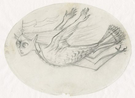 A pencil drawing of a woman-owl creature flying through the air wearing a button down jacket. The creature has wings that end with human hands, a feathered tail, and legs ending with talons.