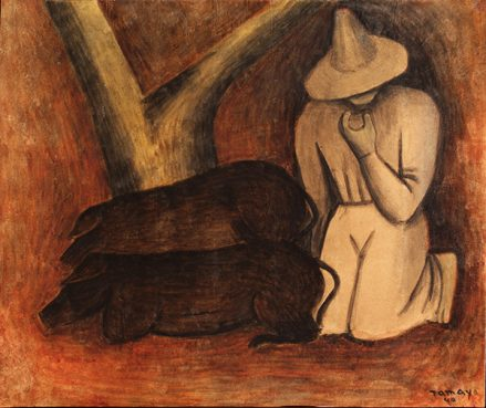 A watercolor in brown and red hues of a farmer, wearing a sombrero, kneeling beside a forked tree at the base of which are two large brown pigs.