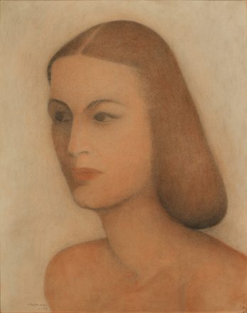 A pastel portrait in beige and brown tones of a woman's head and shoulders in a three quarter view.