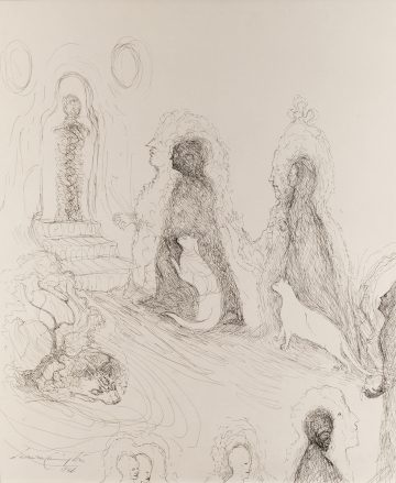 Ink drawing of shadowy figures and cats walking towards a staircase and doorway