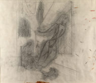 pencil drawing of a seated woman knitting - a female figure is rising from her needles