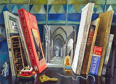 Bookshelf with Abbey Photo