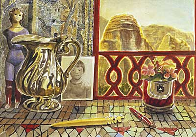 Byzantine Mosaic with Window and Silver Pitcher