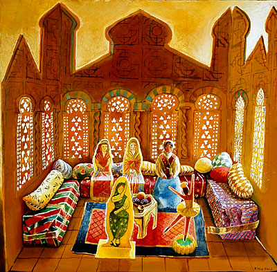 Cardboard Moroccan Room with Dolls