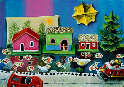 Scene with Cardboard Houses and Street