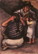 Man, Woman and Child with Clay Pot