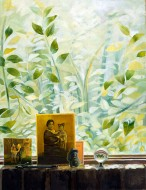 A painting of a windowsill holding two family photographs and a small clear crystal ball. Lush green foliage appears through the window