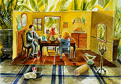 Dining Room Scene on Table Top