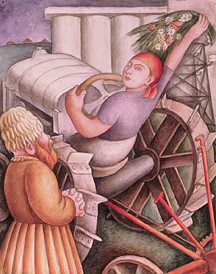 Soviet Harvest Scene