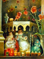 A painting of a small Mexican altar with four dolls, candles, and an arch of pink flowers
