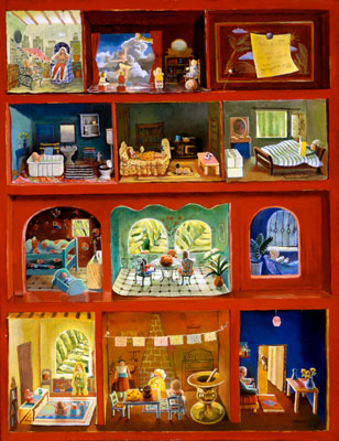 Doll House in Red Cupboard