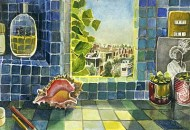 Tiled Window with Seashell and View to Mexico City