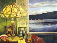 Table with Objects and View of Lake at Sunset