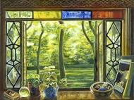 Window with Springtime Garden in Chicago