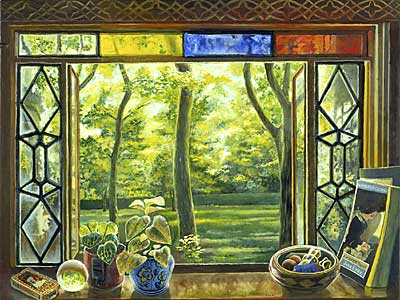 Window with Springtime Garden in Chicago