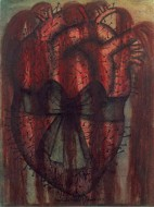 A mixed media artwork of a red heart with a black ribbon around it, covered in nails and spurting blood from the arteries
